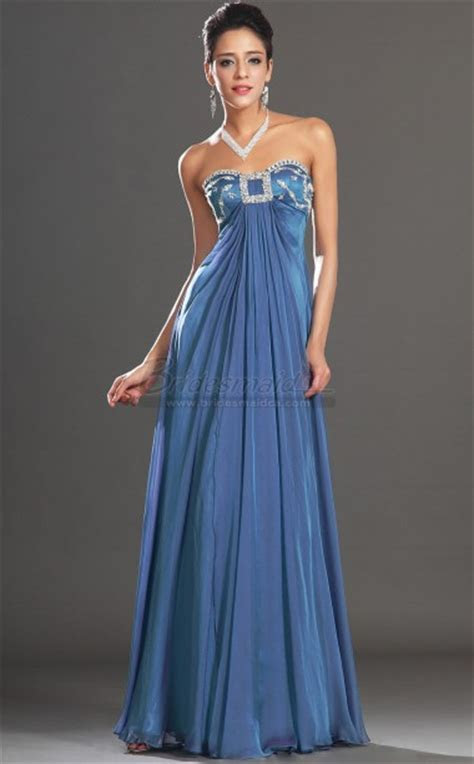 Long Empire Waist Sweetheart Neckline Chiffon Blue