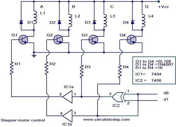 Stepping motor stepper motor controller circuit for Stepper motor driver circuit diagram