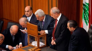 Lebanese members of parliament count votes after casting ballots to elect new Lebanese president in parliament building in Beirut