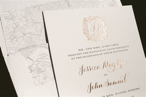rose gold wedding invitations with floral wreath   Bella