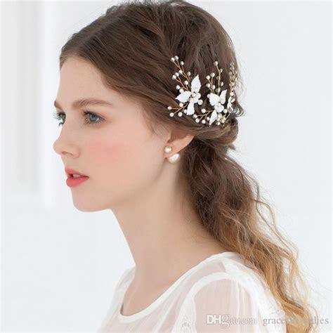Cheap Bridal Hair Accessories Petite Enamel Leaf Bobby