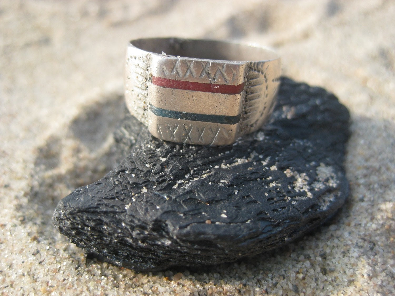 Old Silver Etched African Ring with Blue and Red
