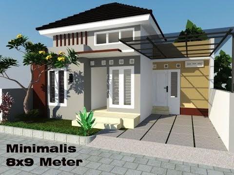 simak desain 3d eksterior rumah minimalis ukuran 8 m x 9 m