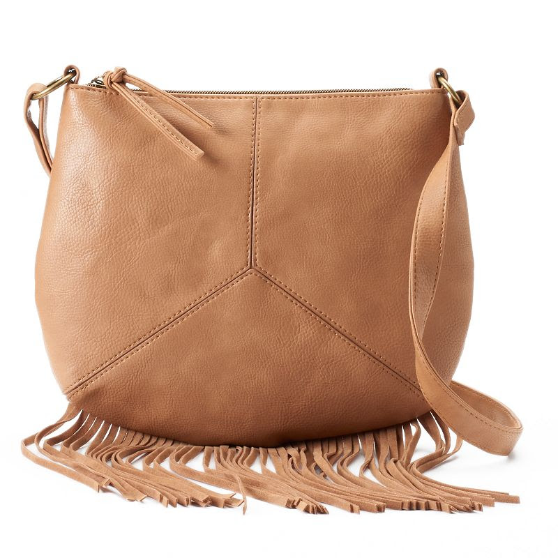 T-Shirt & Jeans Pieced Fringe Crossbody Bag, Women's, Brown