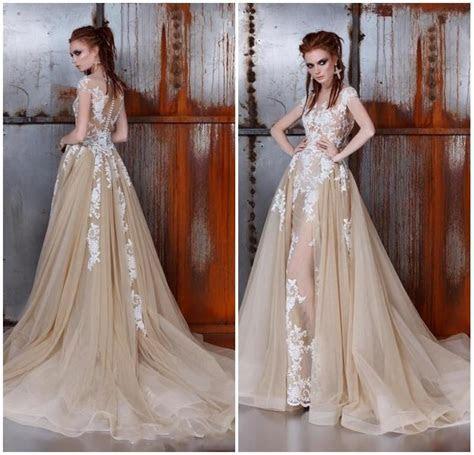Cheap Lace Wedding Dress Detachable Train Wedding Dresses