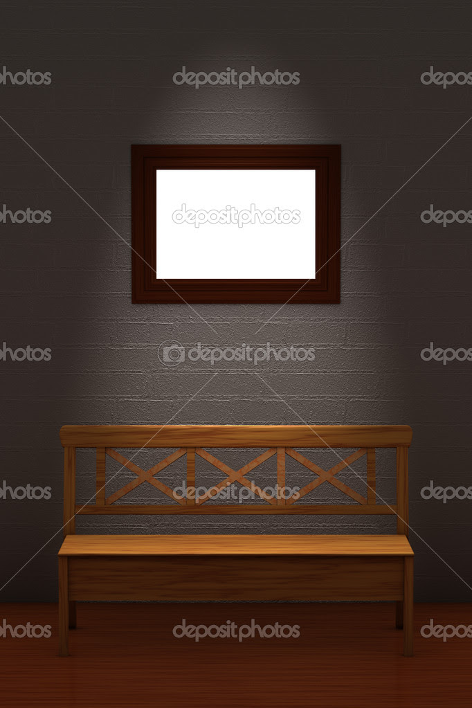 Wood bench with empty frame in minimalis — Stock Photo © Danila ...
