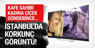 İstanbul'da korkunç görüntü! Kadına çiçek gönderince...