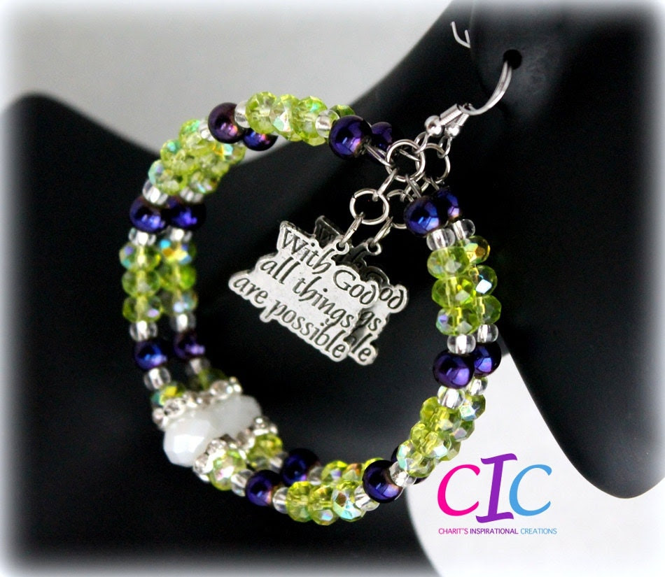 Lime Green and Purple Phil 4:13 Scripture Hoops