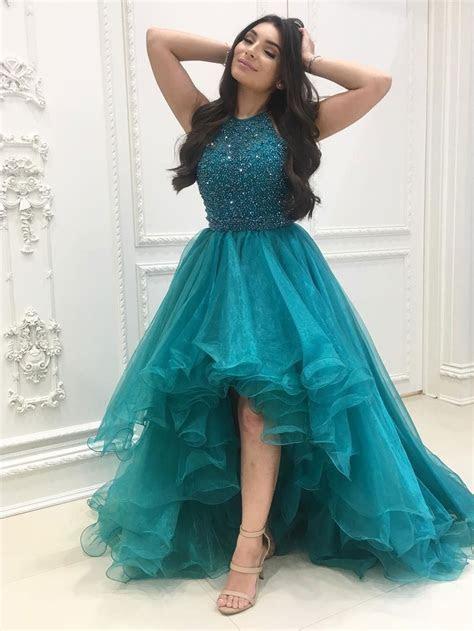 Sexy Chic Prom Dresses Halter Asymmetrical Long Prom Dress