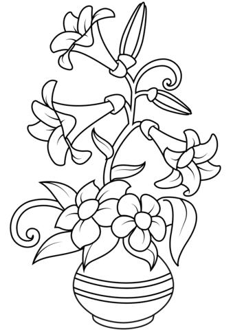 Dibujo De Jarrón Con Lirios Para Colorear Dibujos Para Colorear