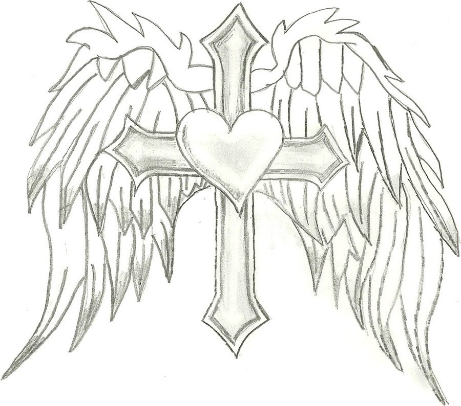 Cross With Wings Drawing At Getdrawingscom Free For Personal Use