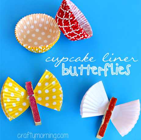 Easy Easter crafts with household objects: Cute cupcake liner butterflies at Crafty Morning