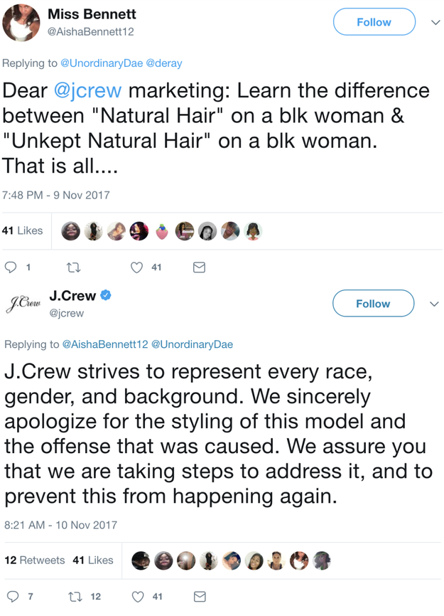 """J. Crew also weighed in, ultimately tweeting an apology """"for the styling of this model and the offense that was caused."""""""