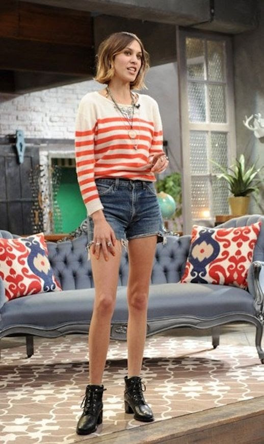 18 Le Fashion Blog 40 Of Alexa Chung Best Looks With Denim Shorts Red Striped Knit Jean Cut Offs Lace Up Ankle Boots Via Vogue Japan
