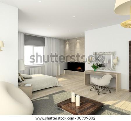 Interior Of Modern Bedroom. 3d Render Stock Photo 30999