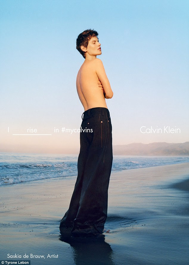 Rise: Tyrone Lebon also features in the star-studded Calvin Klein campaign