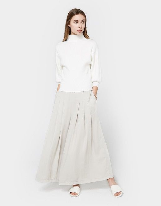 Le Fashion Blog Trumpet Sleeve Sweater Gray Maxi Skirt White Sandals Via Need Supply