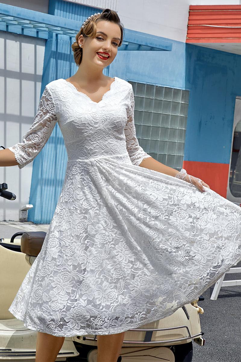 weißes formelles kleid mit 3/4 Ärmeln
