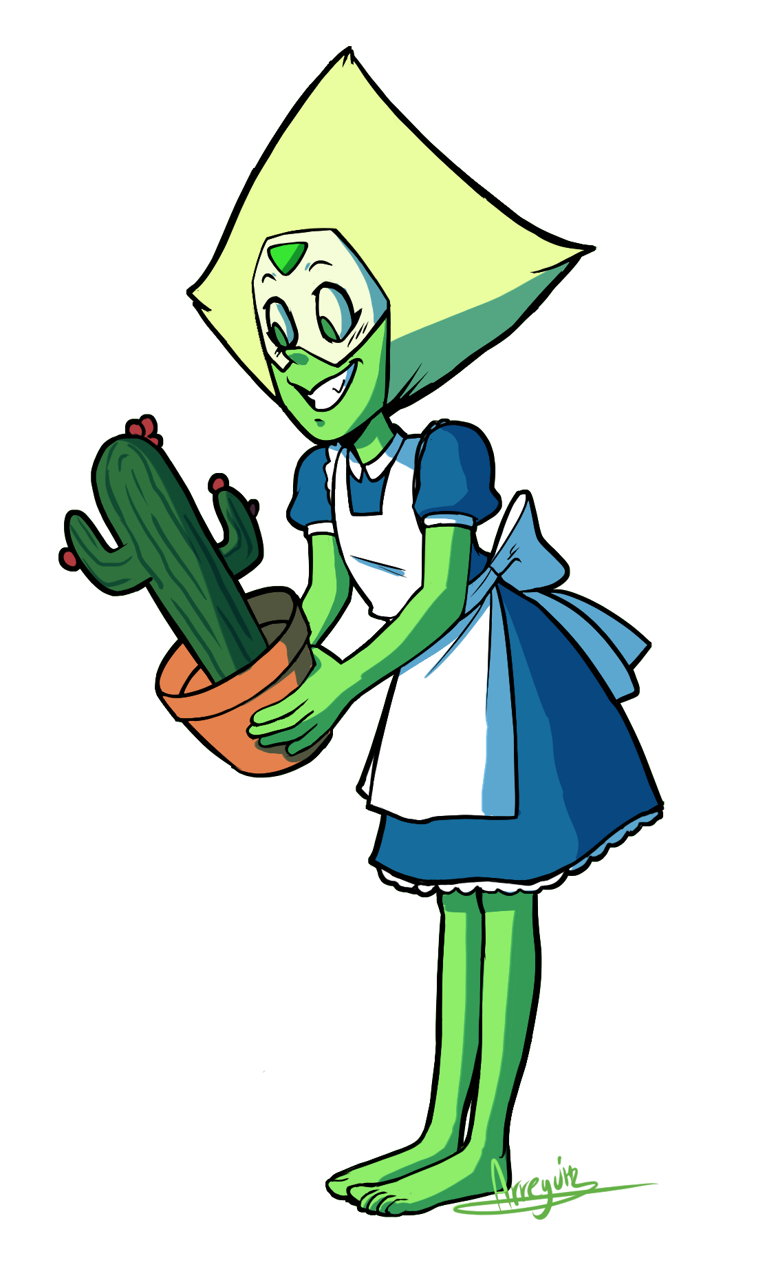 Drew a cactus holding another cactus.