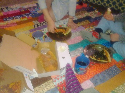 Pizza picnic in the living room