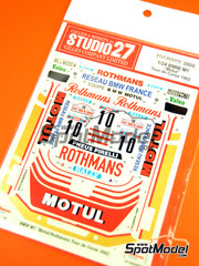 Calcas 1/24 Studio27 - BMW M1 Grupo 4 Rothmans Motul Nº 10 - Bernard Darniche + Alain Mahe - Rally Tour de Corse de Corcega 1982 - para kit de Esci o Revell 07247