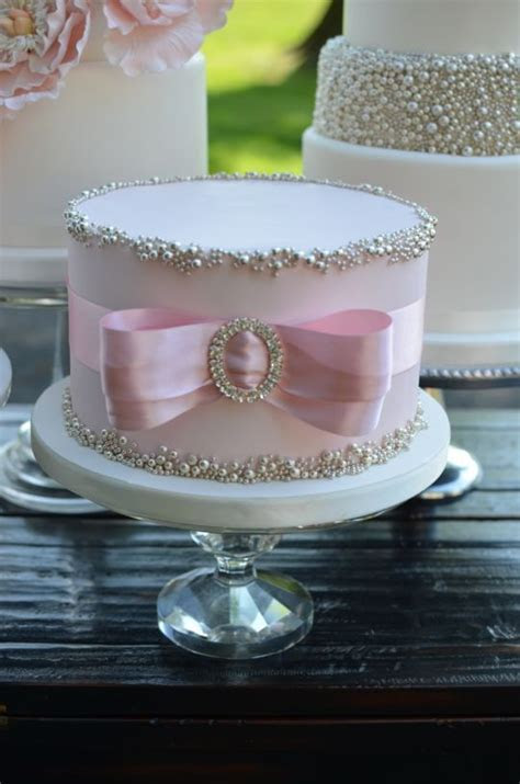 Blush and Silver Cake   simple yet beautiful   Birthday