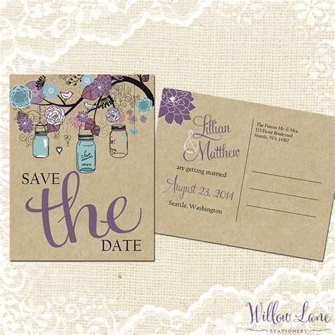 Save The Date Postcard   Vintage Mason Jar Save The Date
