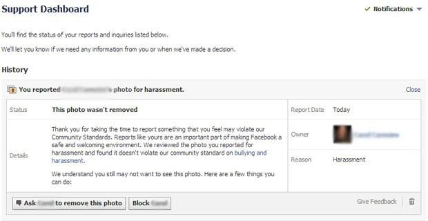 Resposta do Facebook rejeitando denúncia feita por usuário Pedro Moraes na rede social. (Foto: Reprodução/Facebook.com)