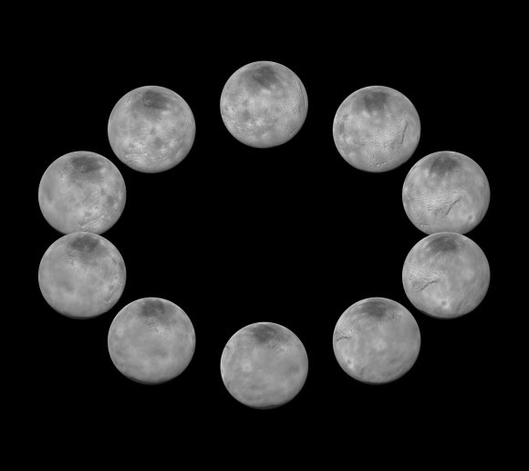 On approach to the Pluto system in July 2015, the cameras on NASA's New Horizons spacecraft captured images of the largest of Pluto's five moons, Charon, rotating over the course of a full day. The best currently available images of each side of Charon taken during approach have been combined to create this view of a full rotation of the moon. Credit: NASA/JHUAPL/SwRI.
