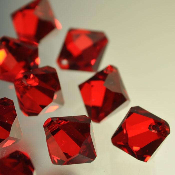 3476301s37321 Swarovski Elements - 10 mm Top-Drilled Bicone (6301) - Light Siam (1)