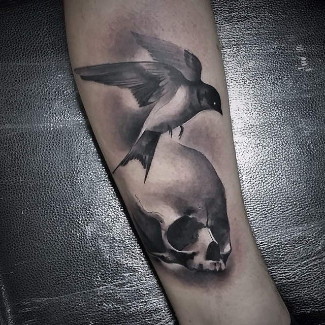 Graphic Skull And Bird Tattoo Best Tattoo Ideas Gallery