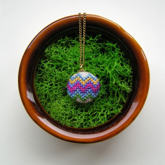 Serapes Cross Stitched Pendant Necklace