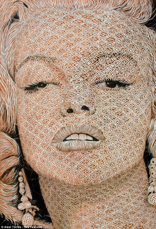 O tecido da história: faneca Marilyn Monroe é perfeitamente capturada em tela, embora parece que foi tecida a partir de material