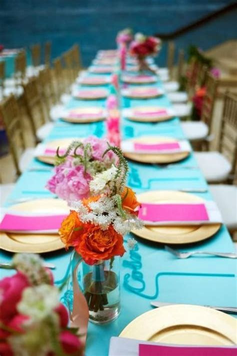 teal and fuchsia reception table decor   Summer Wedding