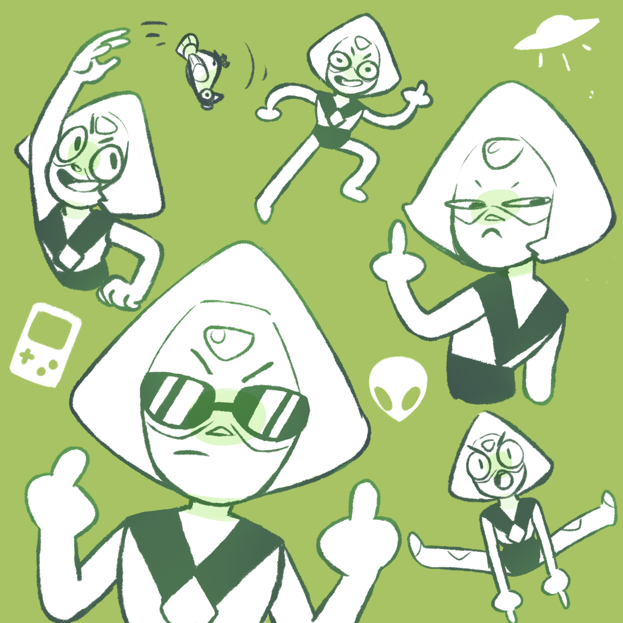 i give u,, peridot flipping the bird in five (5) different ways raffle prize for @pukuppi u egg thx for sending me the best prompt