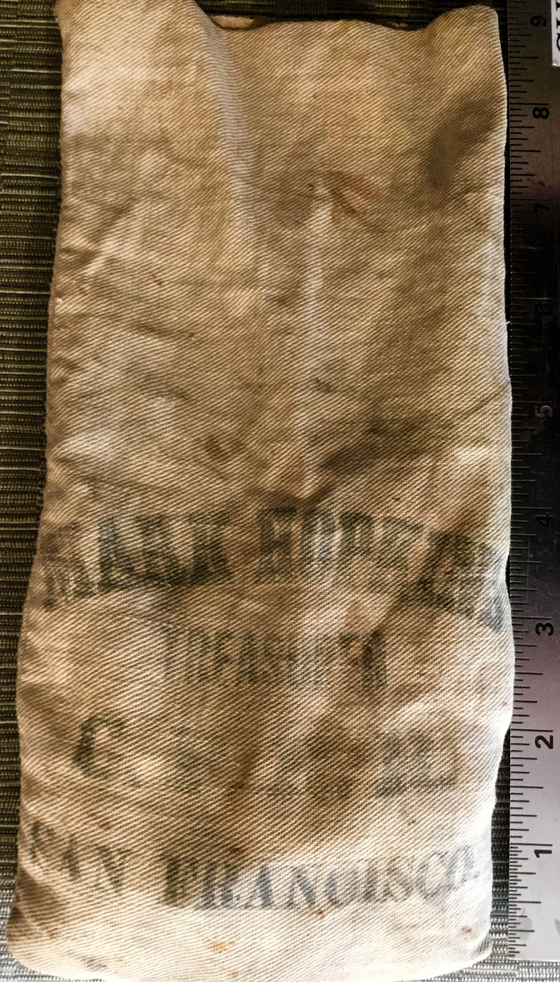 cloth money bag - Old linen bag from C.P.R.R. - 'Mark Hopkins, Treasurer, C.P.R.R., San Francisco.'