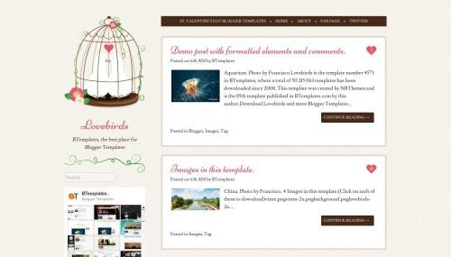"""Lovebirds"" Diary Blog Templates Free + Cute Design Blog Automattic"