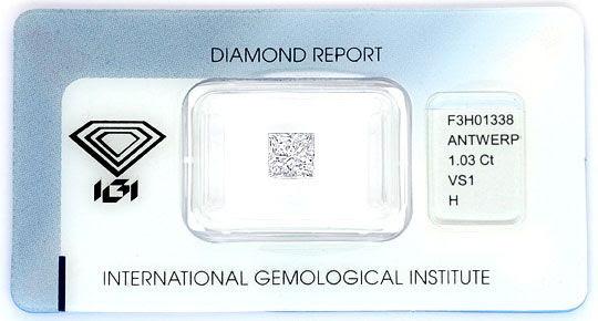 Foto 1, PRINCESS-Diamant 1,03 ct IGI Wesselton VS1 Top-Brillanz, D5171