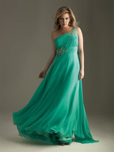 A line One Shoulder Floor length Chiffon Plus Size Evening