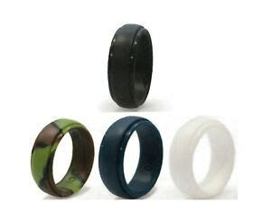 Flexible Silicone Rubber Wedding Rings for Men 4 pack
