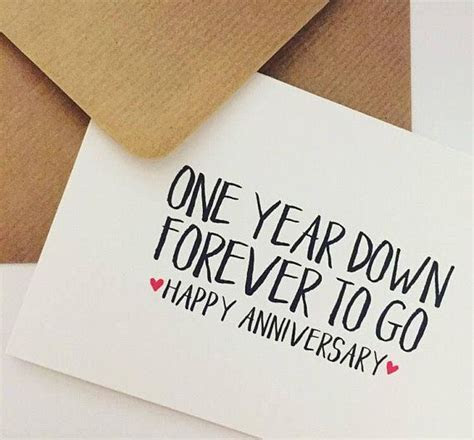 1st year wedding anniversary card, One year down, forever