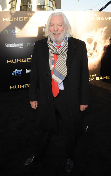 Actor Donald Sutherland arrives at the premiere of Lionsgate's 'The Hunger Games' at Nokia Theatre L.A. Live on March 12, 2012 in Los Angeles, California.
