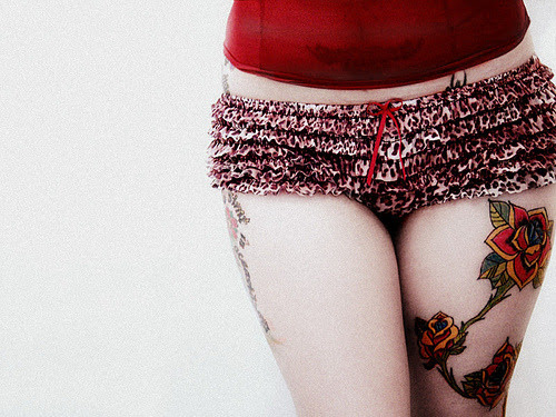 Posted 11 months ago & Filed under tattoo, girl, lingerie, pants, panties,