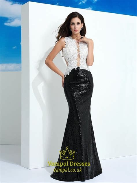 Black And White Sleeveless Lace Top Sequin Bottom Mermaid