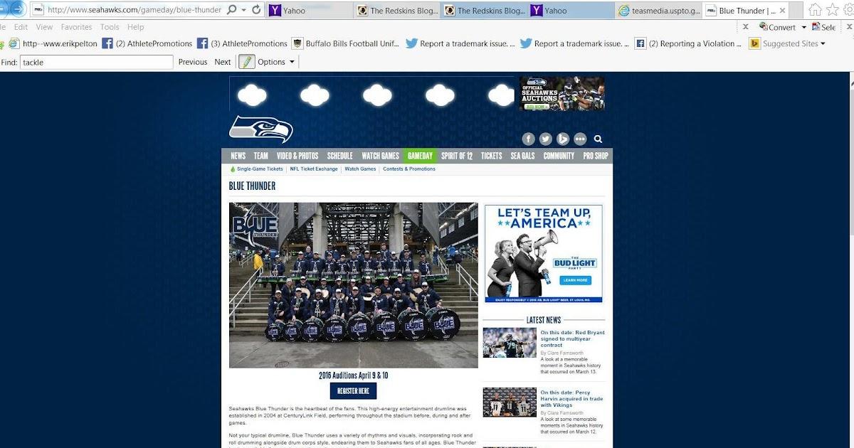 Tantalizing Trademarks Seattle Seahawks File Trademark Lication For Blue Thunder Drumline