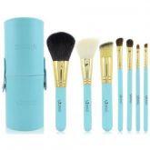 7 Pincéis Emily Makeup Azul com Case + Brinde - FRETE GRÁTIS