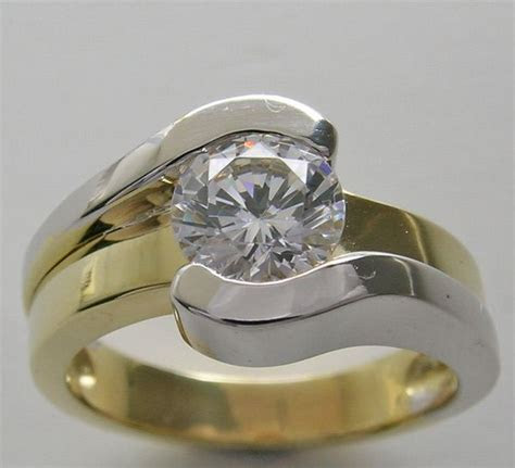 yellow and white gold ring mount bezel set   CONTEMPORARY