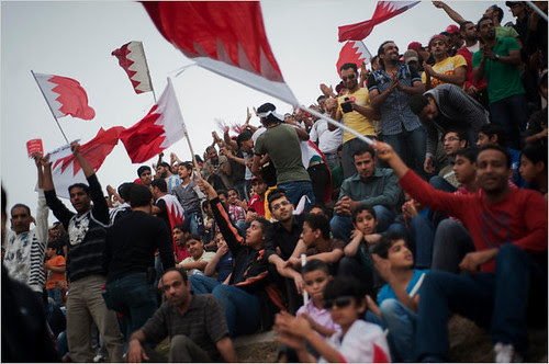 A demonstration in Bahrain against the monarchy in that Gulf state. The U.S. has a military base in this area which houses the Fifth Fleet. by Pan-African News Wire File Photos