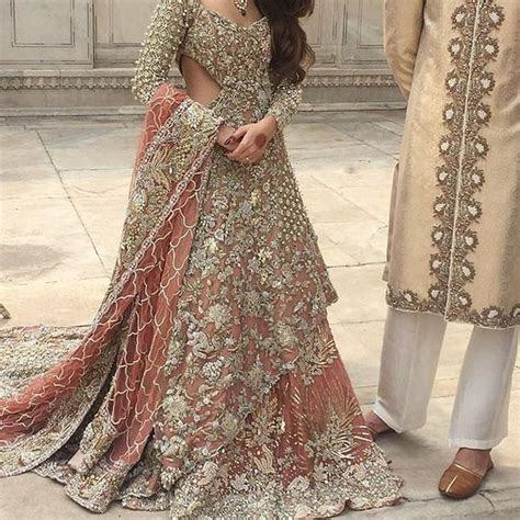 Pakistani Bridal Dress 2017   Peach Back Trail Maxi