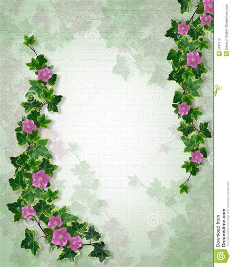 Wedding Invitation Ivy Floral Border Stock Illustration